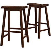 29-Inch Walnut Brown Counter Height Backless Individually Hand Distressed Made Of Solid Rubberwood Saddle Back Design Stools (Set Of 2)