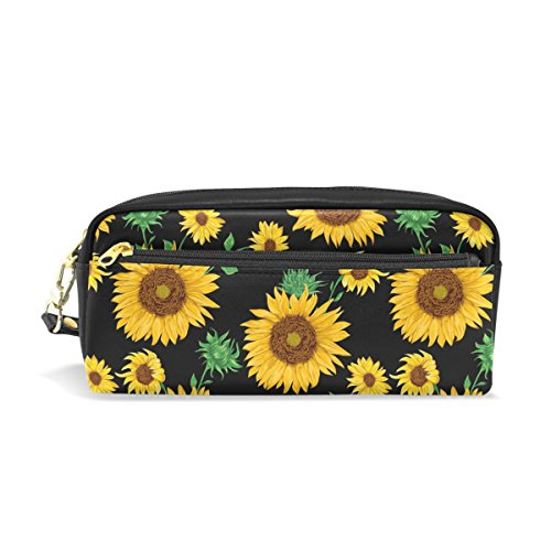 MRMIAN PU Leather Summer Floral Sunflower Pen Pencil Case Bag Purse Pouch Cosmetic Bag Zipper for School Boy Girl Office Work