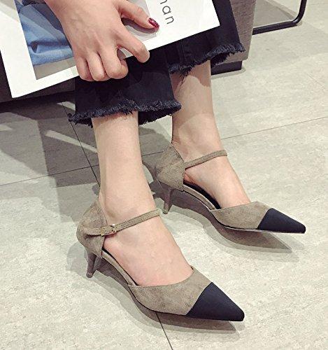 Comfort Party con kaki 39 asolati di dispositivi scarpe basse di luce colore seguita fissaggio Suggerimento porta 3cm multa 36 Elegante Ajunr incollare Court moda qTFwxBCRU