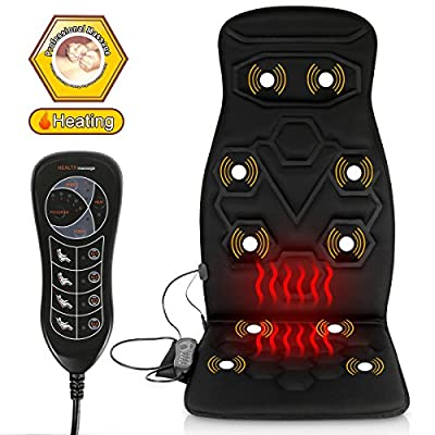 Comfitech Heated Car Seat Back Massager Cushion Chair Pad with 10 Vibrating Motors for Office, Auto and Home