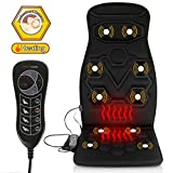 Comfitech Heated Car Seat Back Massager Cushion Chair Pad with 10 Vibrating Motors