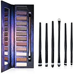 12 Naked Neutral Eye Shadow Palette - Highly Pigmented - Ucanbe Professional Natural Nude Matte Shimmer Eyeshadow Kit - With Pro 6pcs Eye Makeup Brushes / Applicators Set