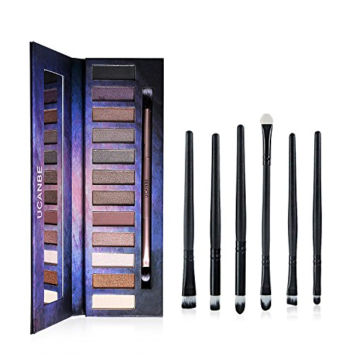 12 Naked Neutral Eye Shadow Palette - Highly Pigmented - Ucanbe Professional Natural Nude Matte Shimmer Eyeshadow Kit - With Pro 6pcs Eye Makeup Brushes / Applicators Set (Korean Tattoo Sticker)