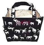 Personalized Fashion Organizing Tote Bag - 12 Outside Pockets 10'' x 8'' x 8'' (Personalized, Black Elephant)