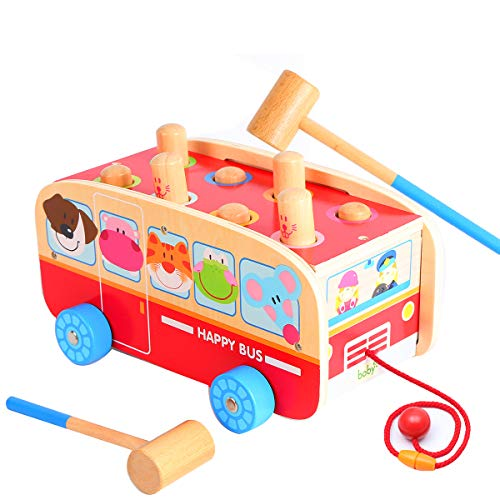 Wood Pounding Bench Pull Along Animal Bus Toys Christmas Gif