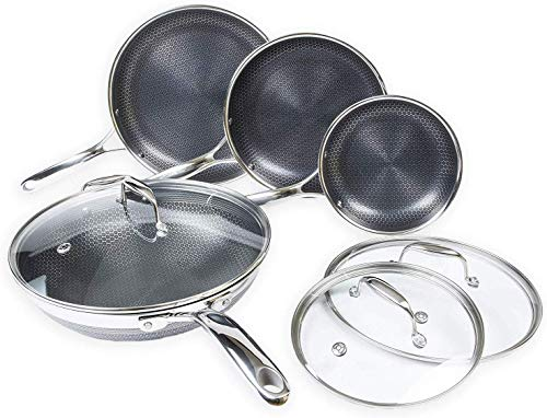 HexClad 7-Piece Hybrid Stainless Steel Cookware Set with Lids and Wok – Metal Utensil and Dishwasher Safe, Induction…