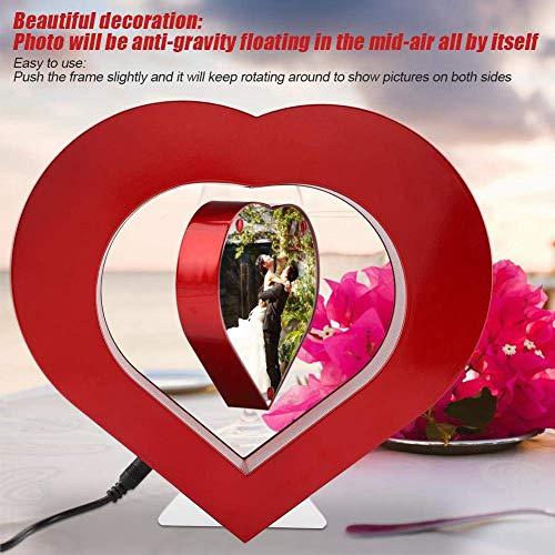 (Photo Frame Multi Photo Frame Magnetic Levitation Photo Frames Creative Floating Picture Frames with LED Red Heart Shaped Gift Practical Home Office Desktop Decoration Crafts(UK) (Color : UK))