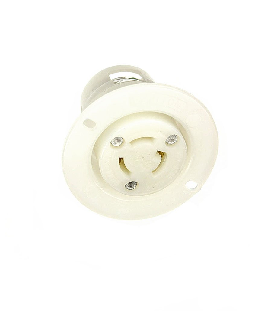 Leviton 4715-C 15 Amp, 125 Volt, Flanged Outlet Locking Receptacle, Industrial Grade, Grounding, White