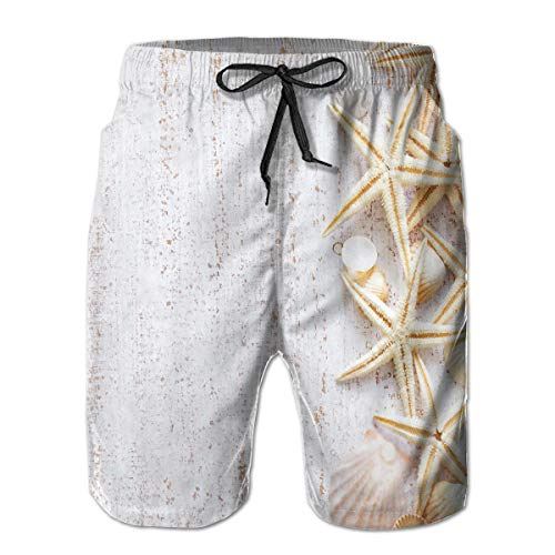 Feimao Sea Shells and Starfish Mens Beach Pants Summer Casual Swim Trunk with Pockets