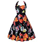 LUCA Women Vintage Halter Neck Sleeveless O Neck Floral Printed Swing Hem Cocktail Evening Party Prom Dress