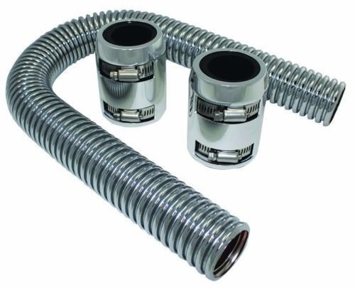 """24"""" Flexible Stainless Steel Upper or Lower Radiator Hose Kit with Polished Caps"""