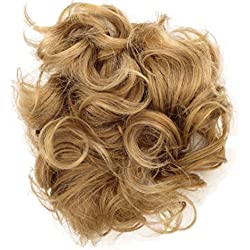Hair Extensions Curly Messy Drawstring Updo Full Bun Strawberry Blonde Mix Synthetic
