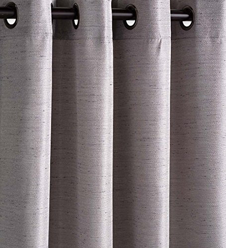 Plow & Hearth Outdoor Woven Grasscloth Single Curtain Panel with Grommet Top, Machine Washable Polyester, 54''W x 84''L - Ash Gray