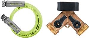 Flexzilla HFZG505YW Garden Lead-In Hose 5/8 In. x 5ft, Heavy Duty, Lightweight, Drinking Water Safe & Orbit Brass Dual-Outlet Faucet Adapter, Brown