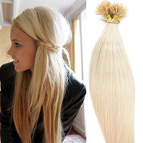 """100 Strands 18 20 22"""" Pre Bonded Keratin Nail U Tip Remy Human Hair Extensions Silky Straight (0.5g/s) 50g(22"""" #60 Platinum Blonde)"""