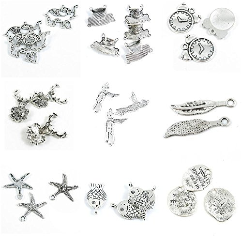 (29 PCS Jewelry Making Charms Clock Signs Fish Starfish Sea Star Feather Plumage Plume Scarf Boy Christmas)