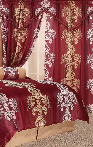 Isabel Jacquard Curtain Set w/Valance/Drapes Burgundy