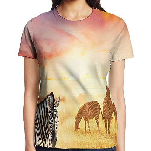 WuLion African Zebras at Fairy Sunset On The Grassland Wildlife Adventure Theme in The Nature Women's 3D Print T Shirt XXL White -