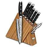Enso HD 8-piece Hammered Damascus Slim Bamboo Knife Block Set