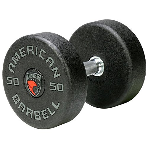 American Barbell Series I Uni-Lock Solid Steel Urethane Dumbbell Set 5-150 lbs (30 Pairs) - Commercial Grade Dumbbells with Anti-Loosening Technology