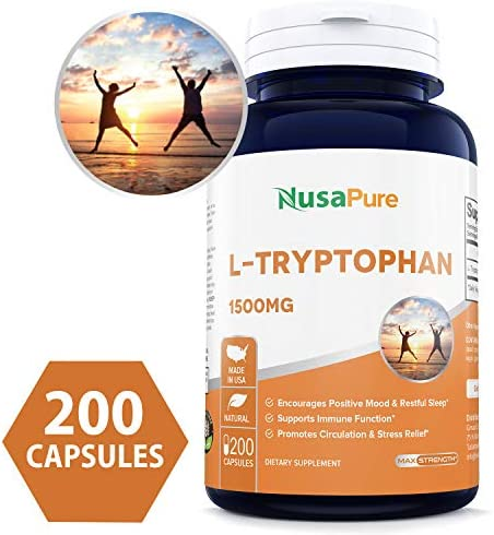 L Tryptophan 200caps Supplement Encourage Relaxation product image