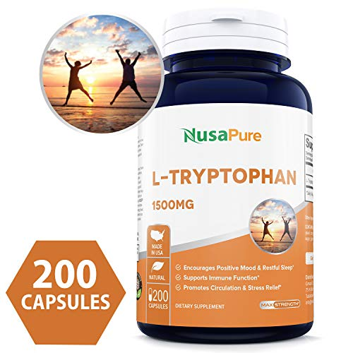 - L-Tryptophan 1500mg 200caps (Non-GMO & Gluten Free) Natural Sleep Aid Supplement to Encourage Relaxation, Combat Stress - 500mg per Capsule