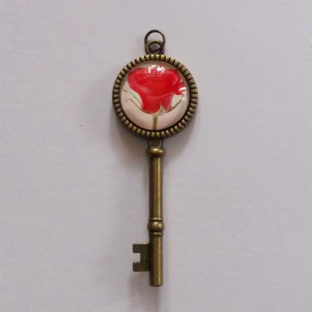 GiftJewelryShop Bronze Retro Style Black Widow Spider Skull Jewelry Vintage Key Pendant Charm Necklaces