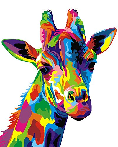 DIY Oil Painting Paint by Number Kit, Paint by Numbers Drawing With Brushes Paint, Suitable for All Skill Levels 40x50cm – Colorful Giraffe