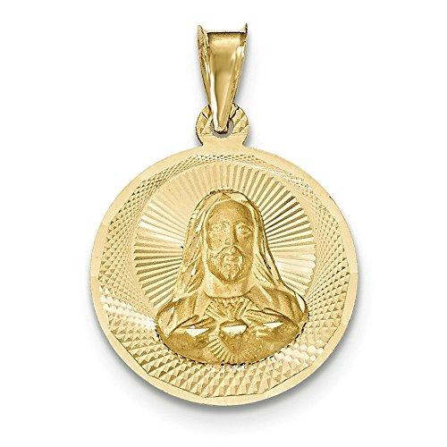 Or poli 14carats et diamant Sagrado Corazon Cercle Pendentif