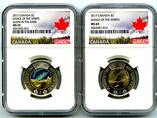 CA 2017 CANADA $2 WORLDS FIRST GLOW IN THE DARK TOONIE DANCE OF THE SPIRITS TWO COIN SET NGC MS65 ()