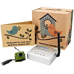 Green Feathers Wireless Bird House Camera with Night Vision, Wireless Receiver, 700TVL Video and Audio - Perfect for your Garden, Nest Boxes, Bird Boxes, Green Camera, Wide Angle Lens, Infrared