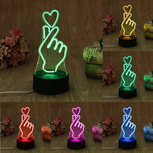 Mimgo 1Pc USB Novelty 7 Colors Changing Finger Heart LED Night Light 3D Desk Table Lamp Home Decor