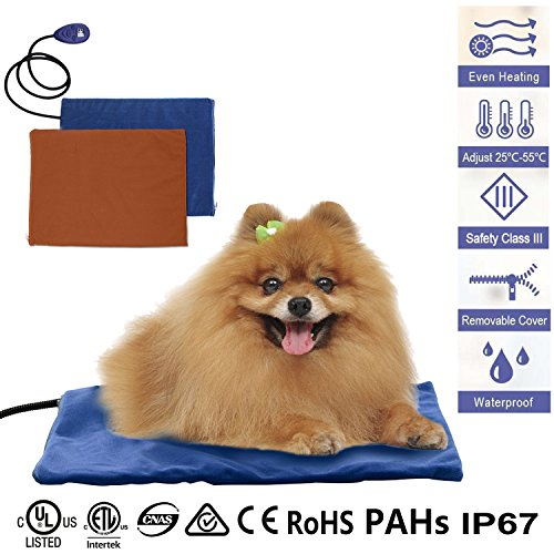 Pet Heating Pad, GUSTYLE 12V Electric Warming Bed Mat for Cats and Dogs, 7 Grade Temperature Control with Chew Resistant Cord and 2 Free Soft Covers(16