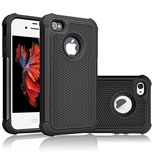 Tekcoo Compatible for iPhone 5S Case/iPhone SE Case/iPhone 5 Case, [Tmajor Series] [Coal Black] Shock Absorbing Hybrid Defender Rugged Cover Skin Shell Hard Plastic Outer & Rubber Silicone Inner