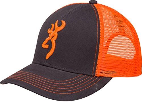 Browning Flashback Neon Cap Charcoal/Neon Orange with Buckmark Baseball Hat