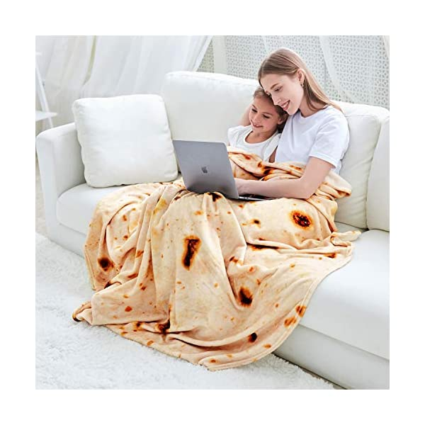 Casofu Burritos Blanket Double Sided Giant Flour Tortilla Throw Blanket Novelty Tortilla Blanket For Your Family 285 Gsm Soft And Comfortable Flannel Taco Blanket For Adults Beige 60 Inches