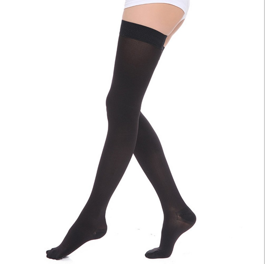 DCCDU Women's Medical Compression Stockings 20-30mmHg 15-20mmhg,Thigh High,Closed Toe,Graduated Compression Socks For Swelling,Varicose,Veins,Edema And So On (XL, Black)
