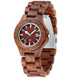 MEKU Women's Wooden Wrist Watch Quartz Wood Watch Red Sandalwood Date Calendar Valentine Gift for Her