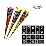 leegoal Henna Cones, Temporary Tattoo Paste Cones Body Art Painting Set with Brown, Black, Red Cones and 23 free Henna Stencil Set