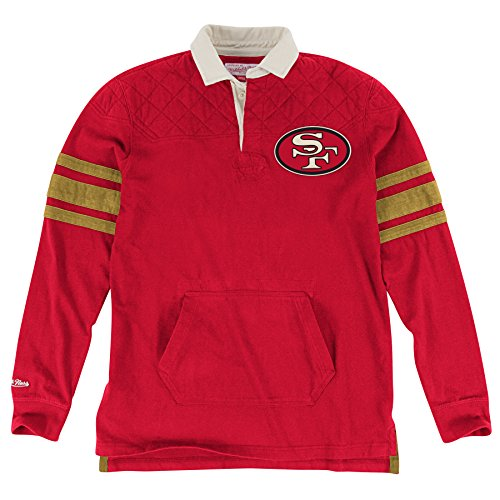 San Francisco 49ers Mitchell & Ness NFL Premium Long Sleeve Rugby Shirt