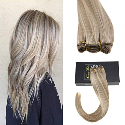 Sunny Brazilian Remy Hair Bundles Straight Hair Wefts Human Hair Dark Ash Blonde with Golden Blonde 100% Human Hair Weft 100gram/Bundle 22inches