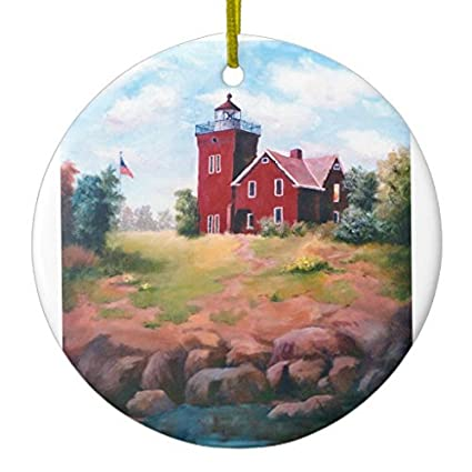 novelty christmas tree decor two harbors lighthouse ornament circle round christmas decorations ornament crafts - Christmas Lighthouse Decorations