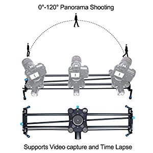 """31"" Motorized Camera Slider Video Track Dolly DSLR Stabilizer with Time Lapse Automatic Track and Wide Angle Shot, Carbon fiber"