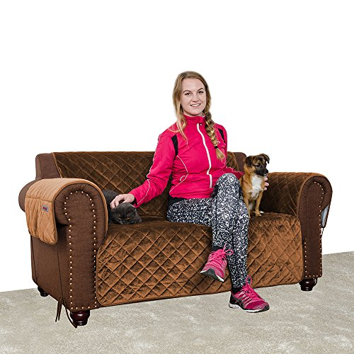 FURRY BUDDY Pet Loveseat Cover, Premium Velvet Ultra Soft and Luxurious Fabric, Stay Put Design with Non-Slip Bottom, Tuck-in Tabs and Sofa Feet Ties, 3 Storage Pockets, (Loveseat, Brown