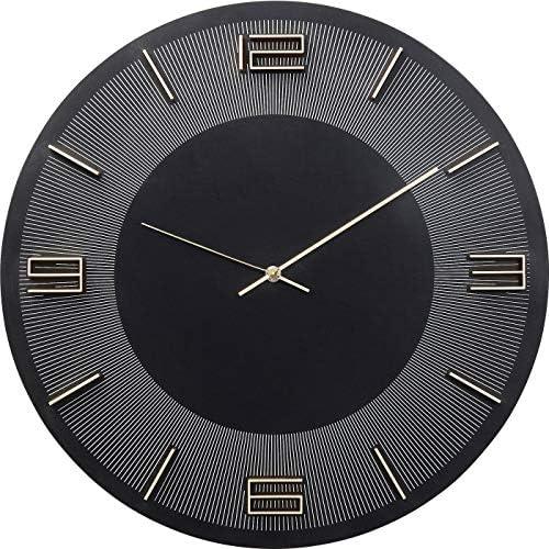 Kare Design Wanduhr Leonardo Schwarz/Gold, Dekouhr Rund, Küchenuhr in Schwarz mit Goldenen Akzenten, moderne Uhr für Wohnküche, Wohnzimmer, (H/B/T) 48,5x48,5x4,5cm