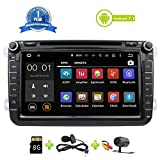 Car Stereo Touch Screen Bluetooth GPS DVD Double Din In Dash Sat Navigation Vehicle Head Unit for VW Volkswagen Jetta Golf Passat Tiguan T5 VW Skoda Seat Hands Free Call Free Map Backup Camera