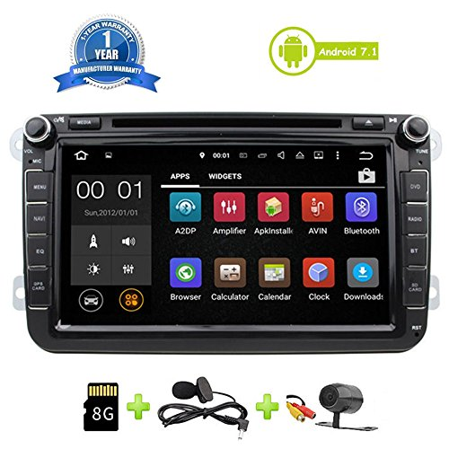Car Stereo Touch Screen Bluetooth GPS DVD Double Din In Dash Sat Navigation Vehicle Head Unit for VW Volkswagen Jetta Golf Passat Tiguan T5 VW Skoda Seat Hands Free Call Free Map Backup Camera by Malanzs