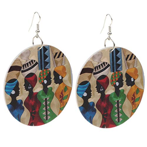 SM SunniMix New Personality Handmade Natural African Wooden Earrings for Women Jewelry E