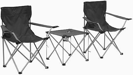 vidaXL Juego de Mesa y Sillas Camping 3 Piezas Gris Acampada Senderismo Picnic