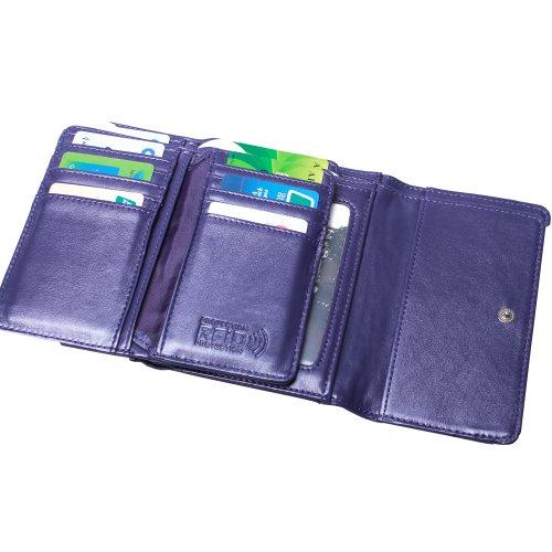 Travelsky RFID Blocking Women's Palm Clutch Wallet - Cartera de mano mujer morado